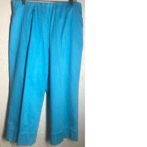 Susan Graver Turquoise Cotton Stretch Pants L